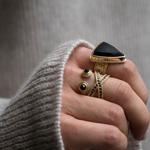 Anna Beck Black Onyx Gold Plated Open Ring